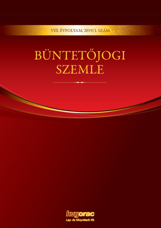 Büntetőjogi Szemle 2019/1.